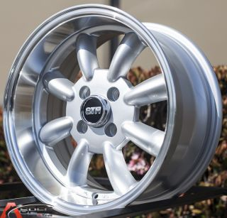 15x7 5 5 Str 503 4x100 Silver Wheel Fit Honda CRX Del Sol Fit Civic SI EK6 EK9