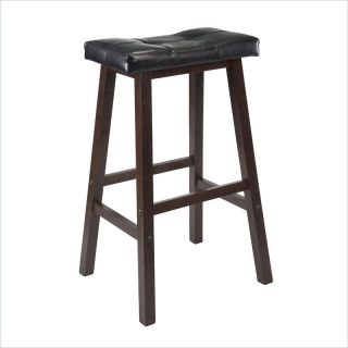 "Winsome Mona 29"" Cushion Saddle Seat Stool in Antique Walnut   94069"