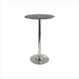 Winsome Rossi Pub Table Round Black Glass Top with Pedestal Base in Black Finish   93444
