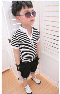 "Spring Toddler Boys Classic ""V"" Collar Striped Harem Pant Kids Outfits Set Suits"