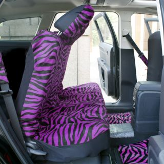 15pc Set Seat Covers Purple Zebra Animal Print Floor Mats Wheel Belt Head Pads