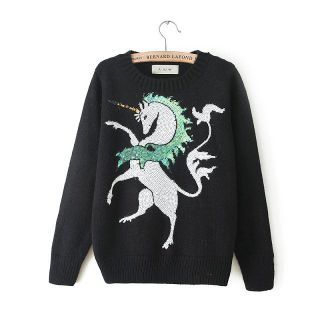 Womens European Fashion Crewneck Long Sleeve Unicorn Knit Sweaters B4029