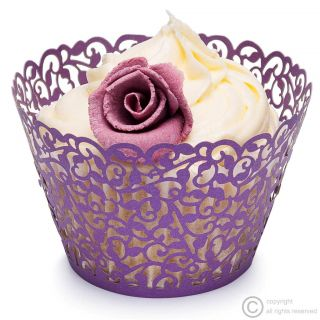 Purple Cupcake Wrappers Filigree Vine Bun Cases Wedding Birthday Cadburys