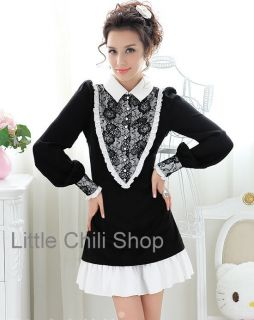 OL Japan Kawaii Fashion Dolly Sweet Cute Princess Women Black Lace Dress s XL