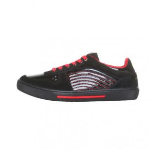 Versace Collection Men Shiny Black Suede Sneakers Red Rubber Casual MODA1 30241
