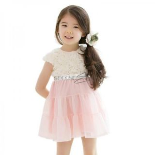 Girls Princess Rose Lace Bow Summer Chiffon Party Dress Kids Baby Clothes 2T 6
