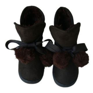 New Toddler Girls Brown Faux Suede Boots Faux Fur Lined Ribbon Pompom Ties New