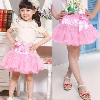 Girls Multi List Solid Color Pettiskirt Bow Knot Skirt Girls Dance Tutu Dress