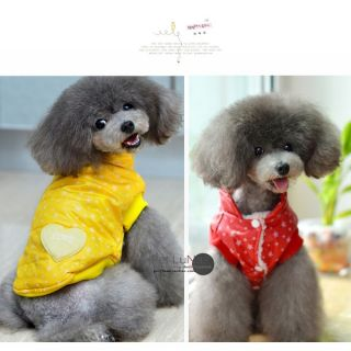 Dog Puppy Pet Stars Heart Warm Waistcoat Apparel Winter Clothes Costumes Jacket