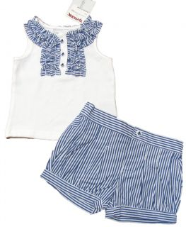 Savannah Baby Girls White Navy Blue Stripe Tank Top Shirt Shorts Set