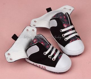 Baby Boy Black White Soft Sole Shoes Toddler Sneaker Size Newborn to 18 Months