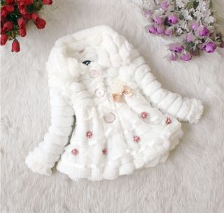Trendy Toddlers Baby Girls Faux Fur Fleece Lined Coat Kids Winter Warm Jacket