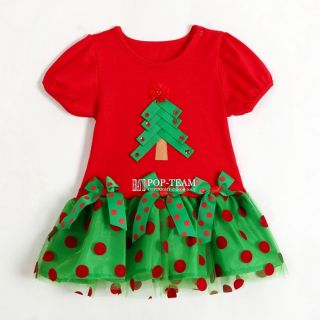 Baby Girls Christmas Tree Dress Xmas Holidays Birthday Lovely Dress 1 5Y FT174