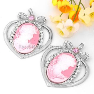 Pink Cameo Beauty Rhinestone Bow Heart Silver Plated Pendant Fit Necklace