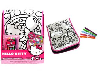 Sanrio Hello Kitty Doodle Messenger Bag Coloring Kit with 5 Ultra Bright Markers