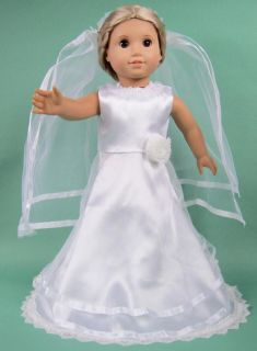 Doll Clothes Fits 18'' American Girl Handmade Wedding Dress Gown B18