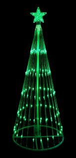 9' Green LED Light Show Cone Christmas Tree Lighted Yard Art Decoration