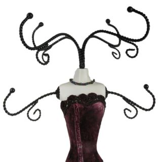 Jewellery Necklace Stand Holder Purple Velvet Dress Shabby Mannequin Chic