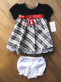 Baby Girls Black White Plaid Dress Velvet Bodice by Bryan Size 6 9 Months