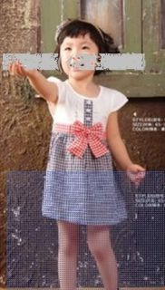 Spring Summer Baby Child Girl Shortsleeve Dress Navy Plaid Princess Cotton Skirt