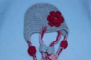 New Handmade Baby Child Knit Hat Beanie Grey Hat Pink Flower Photo Prop 9M 2Year