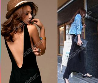Vogue Black Sexy Women Backless Halter Long Maxi Dress Sleeveless Casual Evening