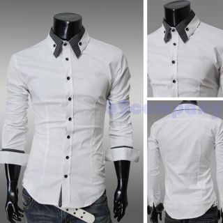 Men's Stylish Striped Collar Button Front Shirt Long Sleeved Casual Slim Shirt