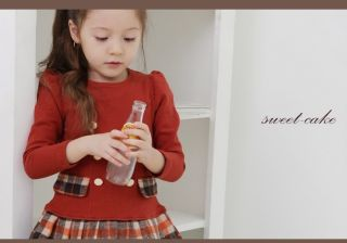 Hot Preppy Style Baby Girls Lattice Fleece Pleated Princess Skirts Formal Dress