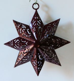 Chocolate Brown Metal Star Filigree Lace Large Christmas Tree Ornament