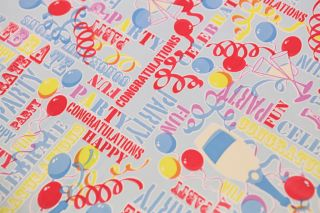 Childrens Fun Celebration Happy Birthday Party Oilcloth Wipe Tablecloth Fabric