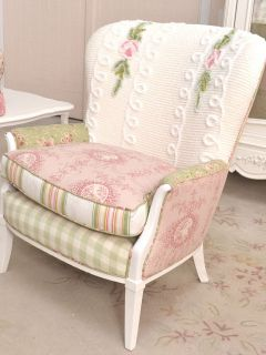 Shabby Cottage Chic White Pink Sage Rose Chenille Chair Vintage Cute Armchair