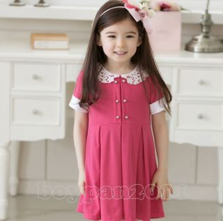 Lovely Kids Toddlers Girls Beautiful Lace Doll Collars Dress New Age 2 7Y