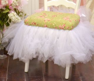 Shabby Cottage Chic Adorable Pink and Sage Floral Tutu Single Ladder Chair White