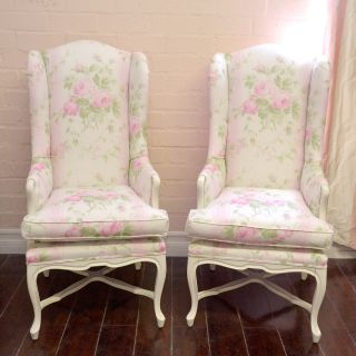 Shabby Cottage Chic Pair Pink White Striped Floral Armchairs Roses French Style
