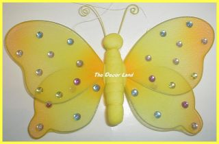 "8"" Yellow Crystal Butterfly Wall Hanging Girls or Baby Nursery Room Decorations"