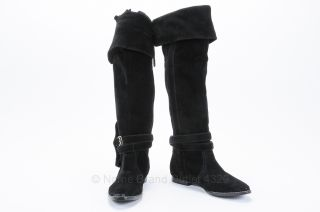 Black Leather Knee High Boots 7.5