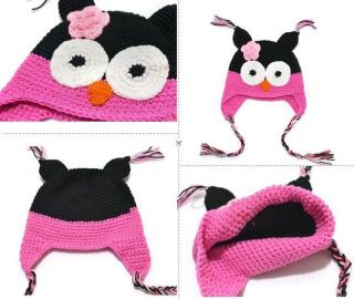 Owl Beanie Newborn Baby Boy Girl 100 Cotton Crochet Knitted Hat Photo Prop 0227D
