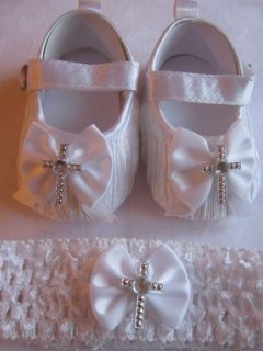 Baby Babies Girls White Christening Confirmation Shoes Cross Headband UK
