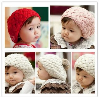 Girl Boy Toddler Kid Cute Knit Crochet Hat Winter Beret Mushroom Bobble Hat 1245