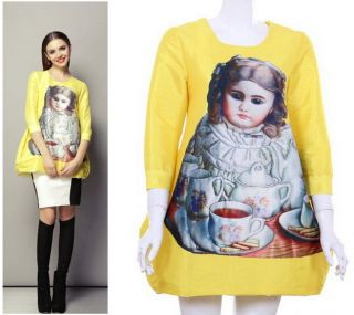 Celeb Puffy Loose Baby Angel Print Sleeves Dress Yellow Pink Party Evening