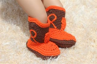 Handmade Knit Crochet Boy Cowboy Baby Boots Shoes Newborn Photo Prop 8 Color New