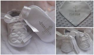 Baby Boys Christening Baptism Shoes Boots White or Cream Personalized Name Date