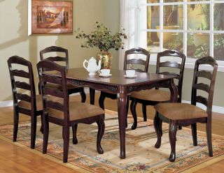 7 Piece Traditional Formal Dark Walnut Floral Motif Dining Table Chair Set