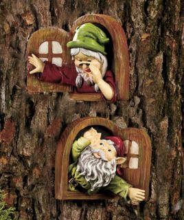 2 Gnomes Tree Decor Boy Girl Statue Dwarf Sculpture Garden Yard Lawn Outdoor Art