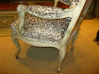 French Provincial Hollywood Regency White Leopard Print Ornate Wood Arm Chair