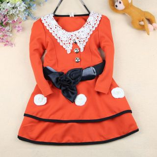 Baby Girl Crochet Collar Belted Dress Flower Smart Embellished Layered Skirt 2 3