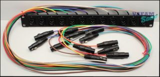 Pre Wired Audio Panel 12 Male to 12 Female XLR Connectors Black