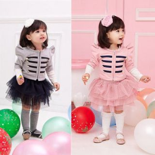 Kids Girls Jacket Coat Ruffled Tutu Dress Pageant Tops Tulle Skirts Outfits 1 5T