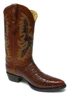 Men's Cognac Brown Leather Belly Crocodile Alligator Cowboy Boots Western Rodeo