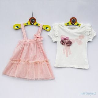 2 Pcs Baby Girls Kids Ruffle Shirts Tops Lace Dress Straps Tops Outfits Set 0 3Y